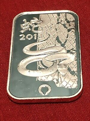 2013 Year Of The Snake - 1 Troy Oz. 999 Fine Silver Bar - Rand Refinery