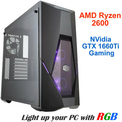 AMD Ryzen5 2600 6-Core Compute GTX 1660Ti Gaming Graphics 8GB RAM 1TB HDD PC