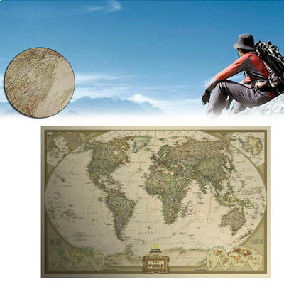 Vintage Retro World Antique Paper Wall Map Poster Chart Bedroom Home Decor 2019