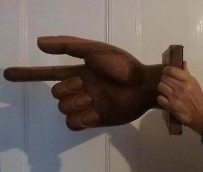 FAB Large Carved Wooden Hand Could Be Used As WAY OUT Sign