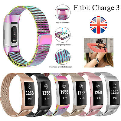 Replacement Milanese Metal Strap for Fitbit Charge 3 Secure Band Metal Buckle