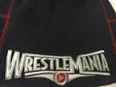 WrestleMania Beanie Hat Stretch Knit Black/Red Stitching