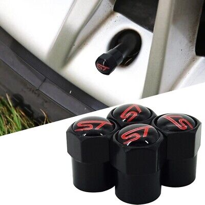 Ford ST Black & Red Wheel Tyre Valve Dust Caps Fits All Fiesta Focus ST Ecoboost