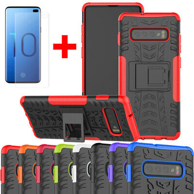 For Samsung Galaxy S10 Plus S10e Shockproof Armor Stand Case+Screen Protector
