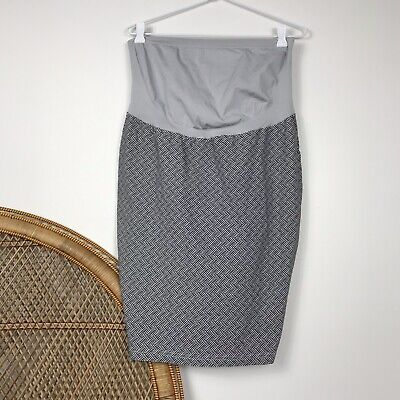 Ripe Maternity Skirt Fitted Pencil Size M Stretch Black White Grey Pregnancy