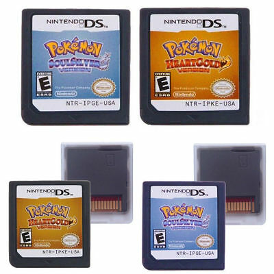 Pokemon SoulSilver HeartGold Version Game Cards Nintendo 3DS NDSI NDS Lite b F01