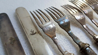 Antique Ottoman Turkish handled knives and forks