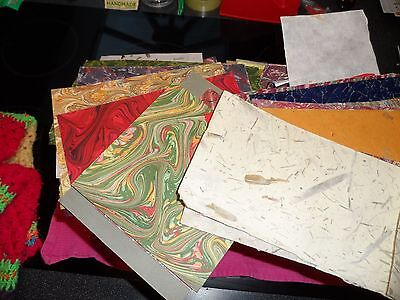 FORTY offcuts of PRINTED, MARBLED, HAND-MADE & PLAIN COLOUR PAPERS