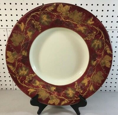 """Crate & Barrel Volante Charger Chop Plate Platter 16"""" Red Gold Leaves Vines VGC"""