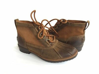 4ad69678a80 UGG AUSTRALIA CECILE Chestnut Brown Leather Duck Boots Womens Size 7 ...