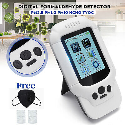 PM2.5 Formaldehyde Tester Air Quality Home Detector PM1 PM10 HCHO TVOC + Mask