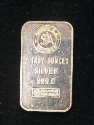 S A A Two Troy Ounce silver .999 bar Argor S A Chiasso