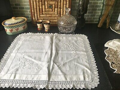Vintage Linen & Lace Hand Embroidered Tray Cloth