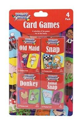 Pack of 4 Children's Playing Cards Games Old Maid Animal Snap Donkey & Snap 7023