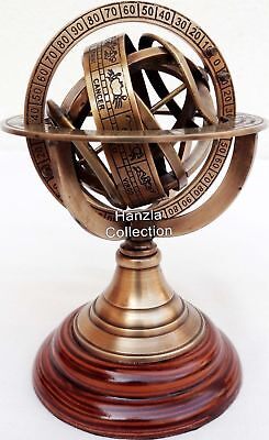 Brass Armillary Sphere Astrolabe On Wooden Base Maritime Nautical & Collectible