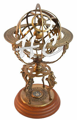 "19"" Nautical Brass Sphere Engraved Armillary Antique Vintage Globe With Compass"