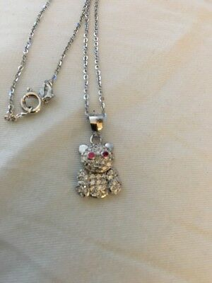 Sterling Silver Crystal Bear With Red Eyes Necklace