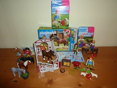 PLAYMOBIL Lot B - 3 Boites 5108 Box Cheval 4765 Moutons 4778 Veaux + Poneys..TBE