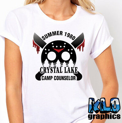 0a73ac3e840 CRYSTAL LAKE CAMP COUNSELOR T-Shirt FRIDAY Death Killer Horror Movie 13th