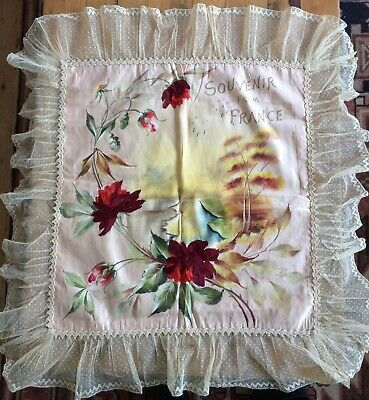 Vintage French Silk Lace Edged Cushion Cover