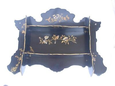 ANTIQUE FRENCH BLACK LAQUERED PAPIER MACHE FOLDING WALL SHELF,LATE 19th CENTURY.