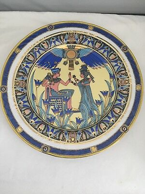 Fine Royal Porcelain Sculpture Charger Plate  Stunning Ancient Egyptian Scene