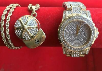 Mens hip hop iced out rapper bling gold plated Diamond watch & Hat  Necklace