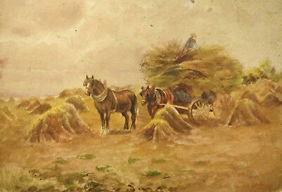 """19th C WATERCOLOR ON WHATMAN PAPER REEVES & SONS, LONDON label; """"Haying"""""""