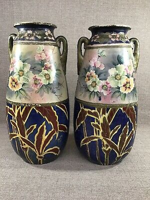 GIANT PAIR ANTIQUE JAPANESE SATSUMA EARTHENWARE VASES Aesthetic Blue Flowers