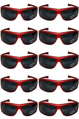 10 Pairs of Sunglasses RED Frame UV400 Lens Men's Women's Retro Wrap Shades Stag