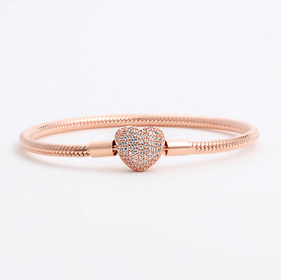 925 Sterling Silver Rose BRACELET Pave Heart Clasp Snake with Pouch