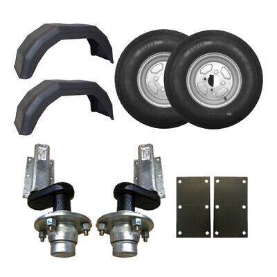 "550Kg Knott Trailer Suspension Units 10"" Wheels Mudguards Mounting Plates"