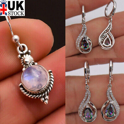 Womens Silver Vintage Boho Drop Hollow Moonlight Stone Drop Dangle Earrings