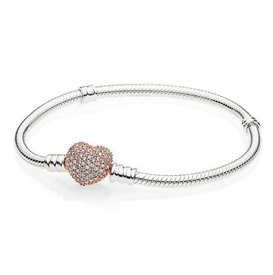 925 Sterling Silver BRACELET Pave Rose Pink Heart Clasp Snake with Pouch