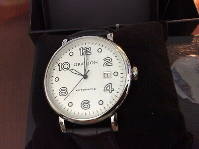 New Mens Grayton Dress Watch Automatic Black Leather Band