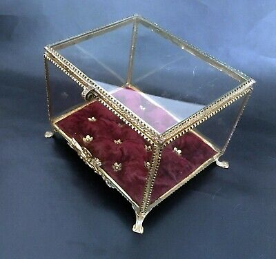 French Antique Large Nap III Brass Frame /Glass Trinket Display Box