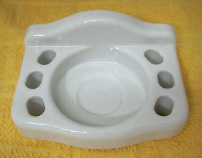 Antique Ironstone Bathroom Toothbrush Cup Holder Wall Mount Nice Shape T35