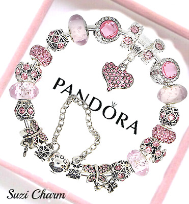 Authentic Pandora Bracelet Silver Pink MOM Angel Wing with European Charms New
