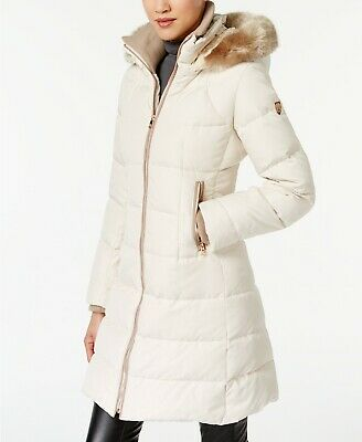 33cdc0898 VINCE CAMUTO QUILTED Puffer Coat Faux Fur Trim Hood White 2X NWT $320