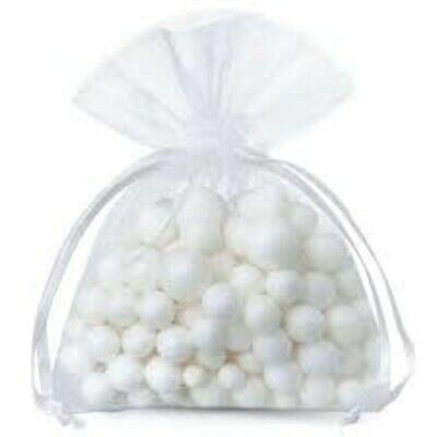 50x WHITE ORGANZA GIFT BAGS FAVOUR JEWELLERY WEDDING PARTY LUXURY POUCH