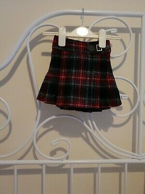 Next Red Check Wool Pleated Buckle Skirt Age 12-18 Months