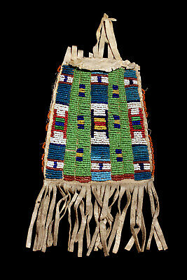 Authentic Native American Antique Beaded Fringed Hide Tobacco Bag: Circa 1870!