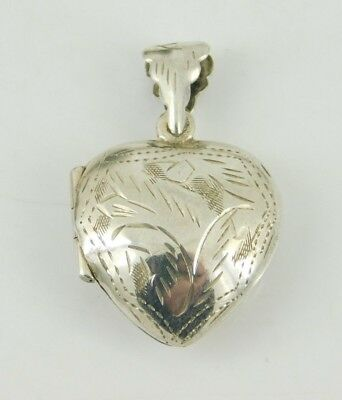 925 Sterling Silver Etched Heart Photo Locket Pendant