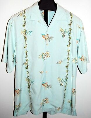 09d11e70 TOMMY BAHAMA 100% Silk Bamboo Jungle Hawaiian Palms Hibiscus Aloha Men's  Large