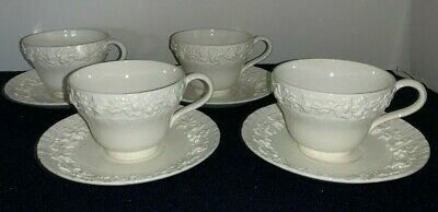 (Set of 4) Wedgwood Queensware Embossed Cream/Ivory/White CUPS and SAUCERS