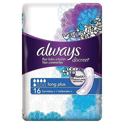Always Discreet Serviettes Long Plus x 16 + 2 Lots de 22 Proteges slips Discreet