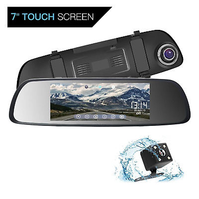 Dash Cam ILIHOME 7'' Touch Screen Mirror Auto Camera, Dual Lens 1080P Front and