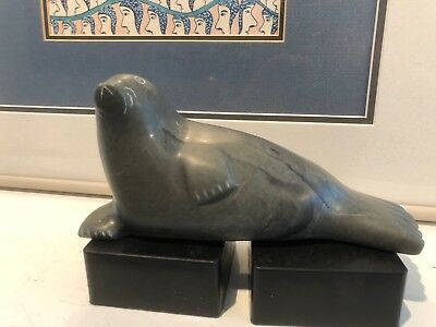 Inuit Art Striated Seal Carving by artist Agnes Tooktoo Sr.