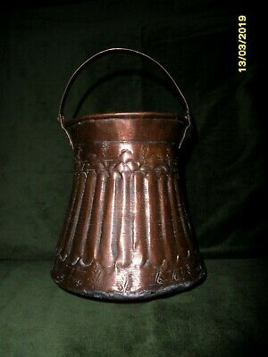 Arts And Crafts Rustic Hand Hamered Rustic Copperwear Small Pail