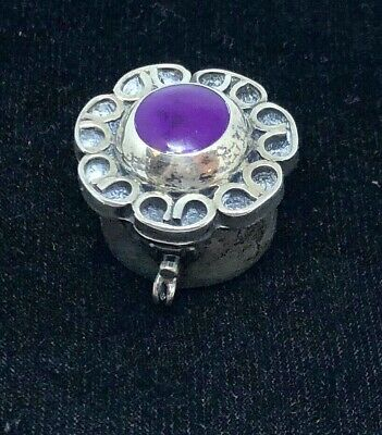 Vintage Sterling Silver & Amethyst Trinket Or Pill Box  Mexico